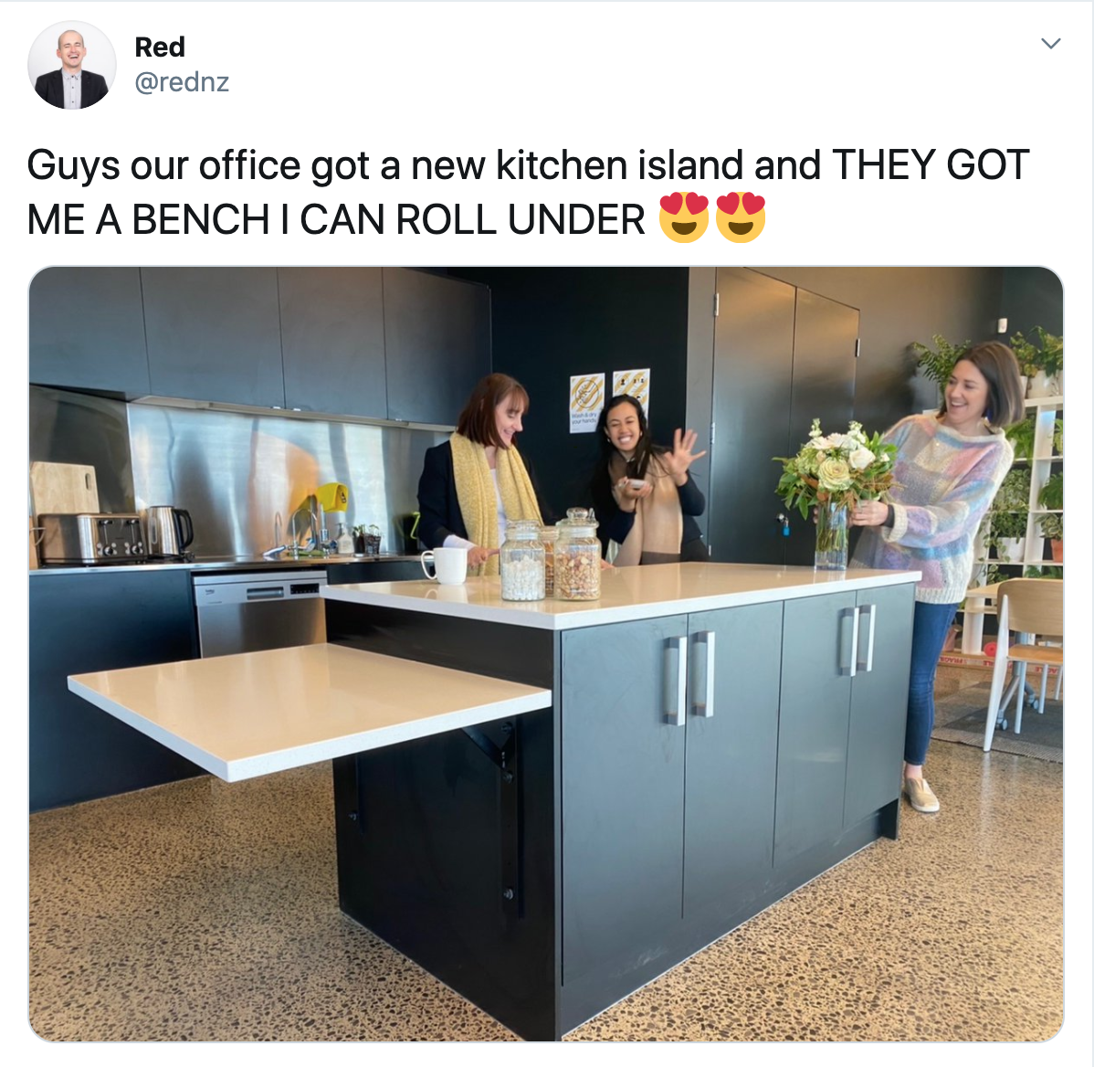 """Guys our office got a new kitchen island and they got me a bench I can roll under!"""