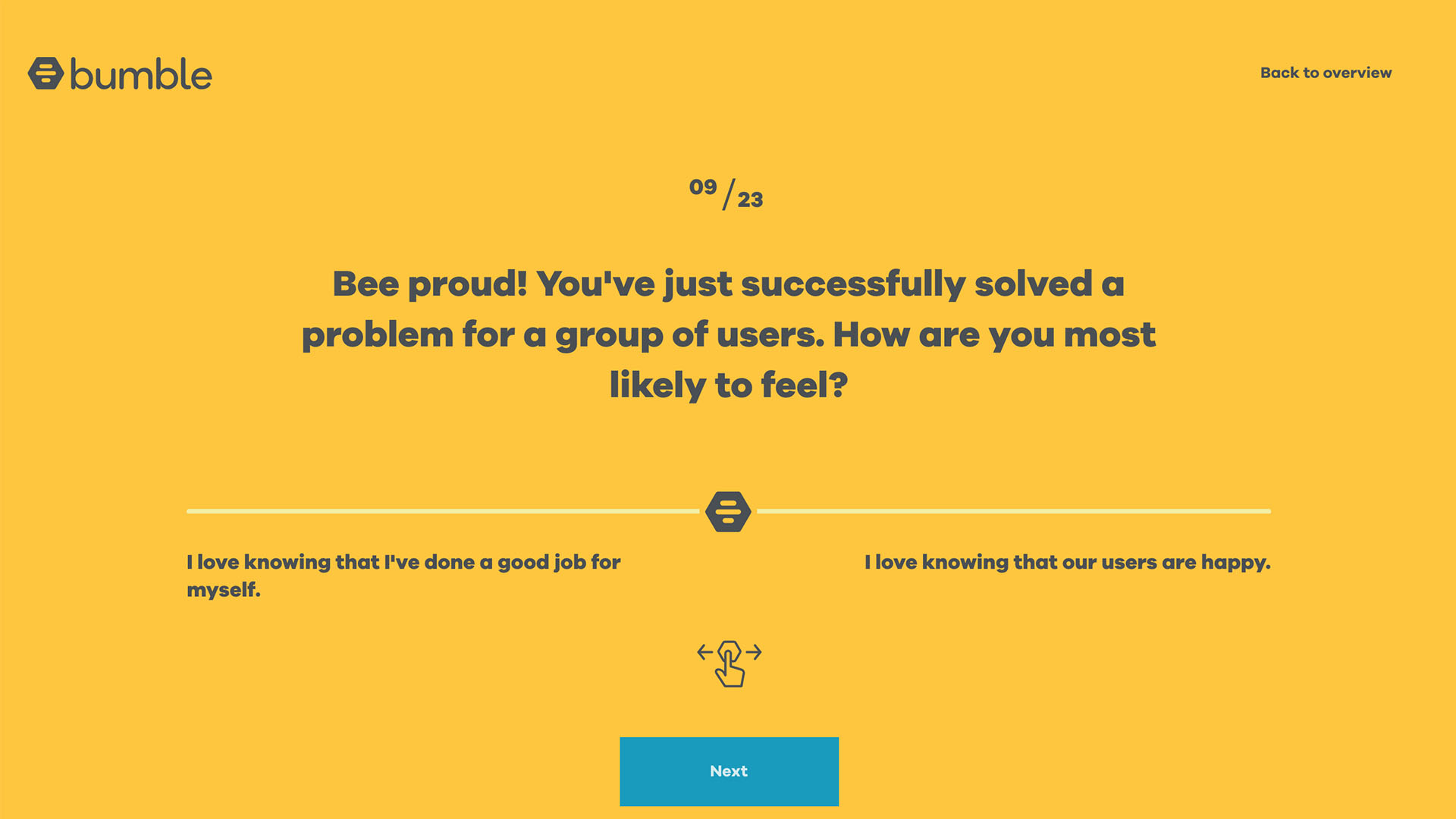 """Bee proud! You've successfully solved a problem for a group of users. How are you most likely to feel?"""