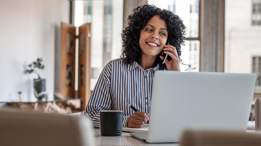 Woman happy on phone call