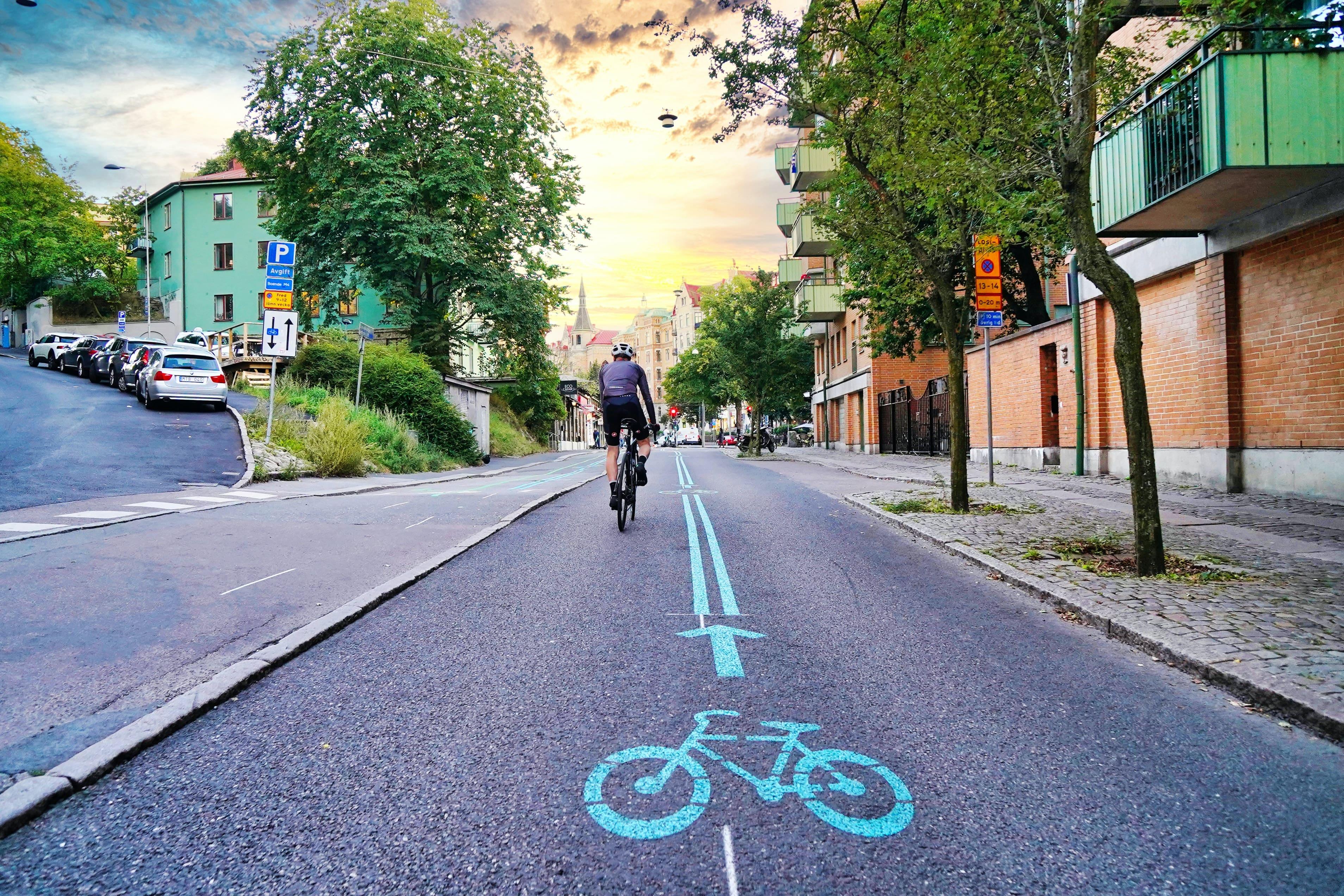 Cyclist on cycling lane