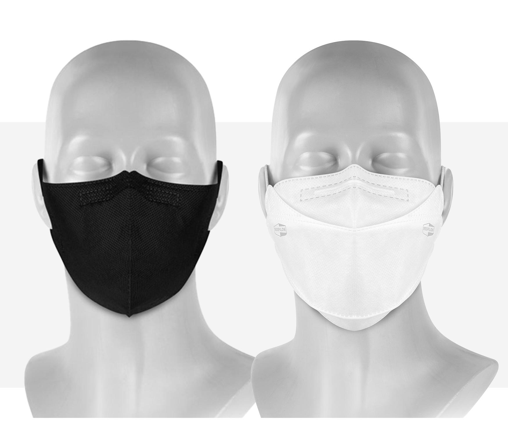 Respilon antiviral respirators on mannequins