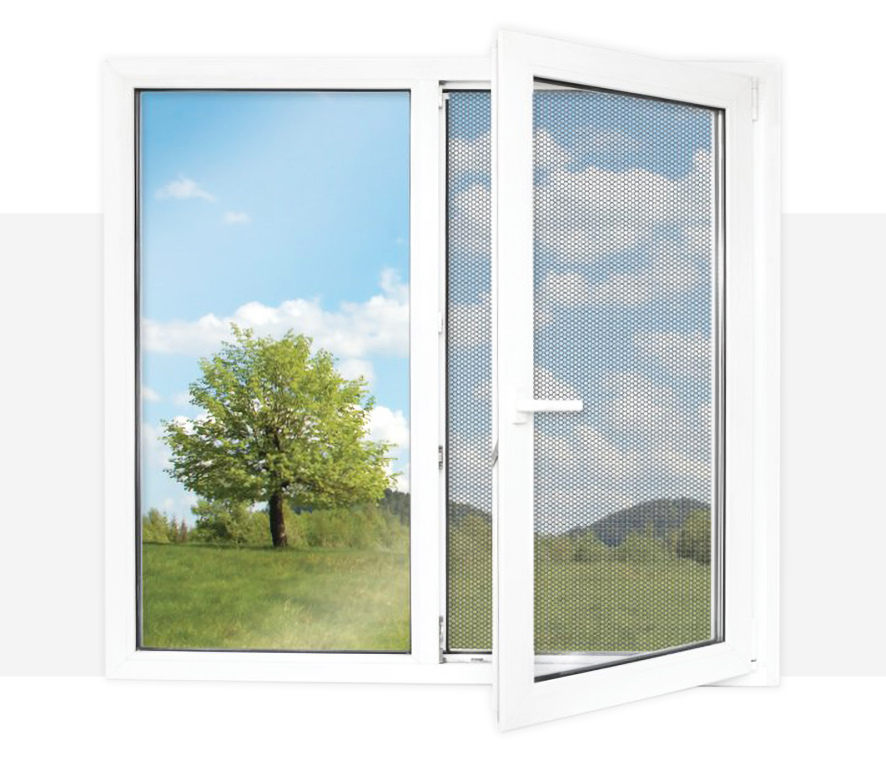 Respilon window membrane installed into a window with a meadow outside