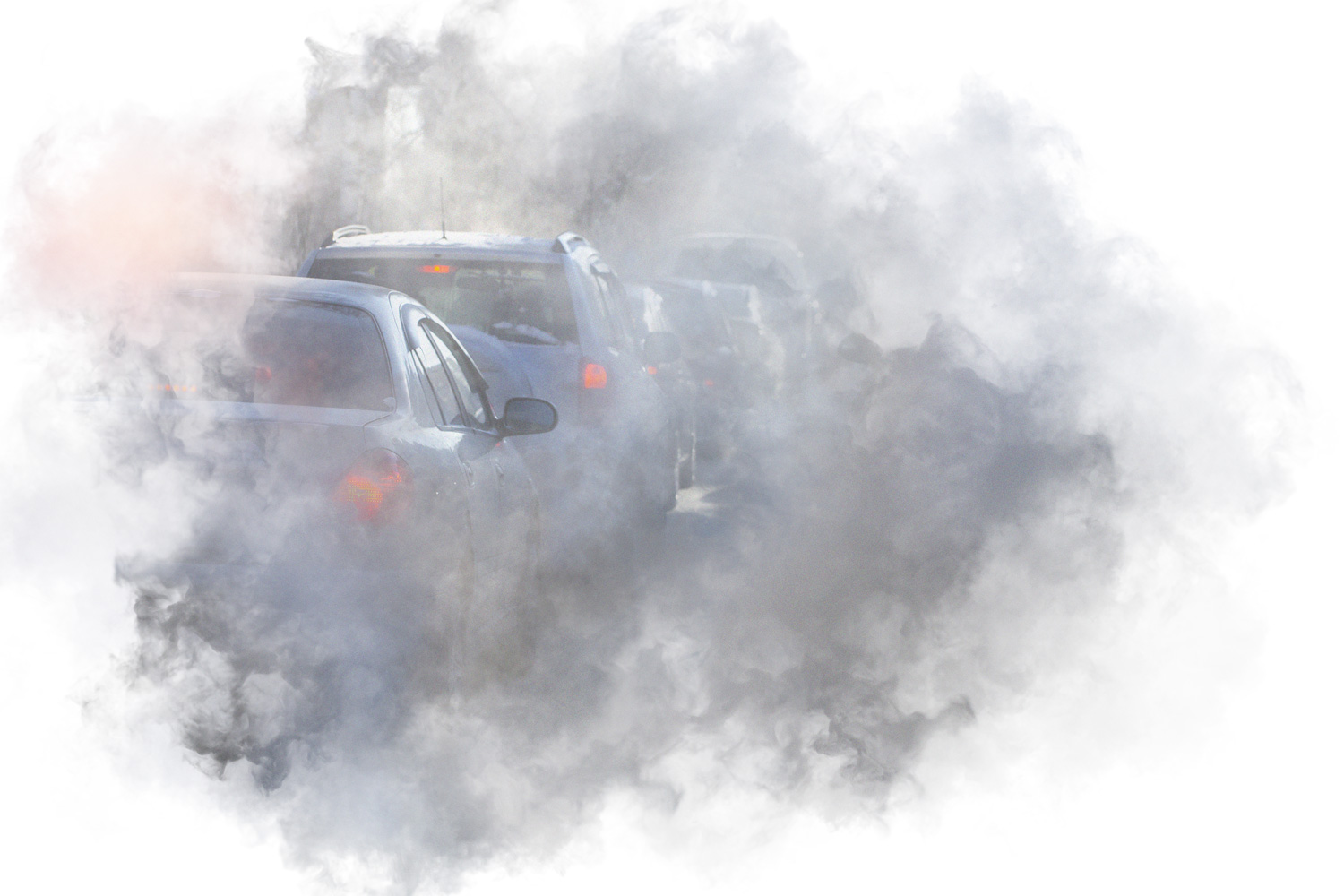 A cloud of air-pollution with cars in the middle