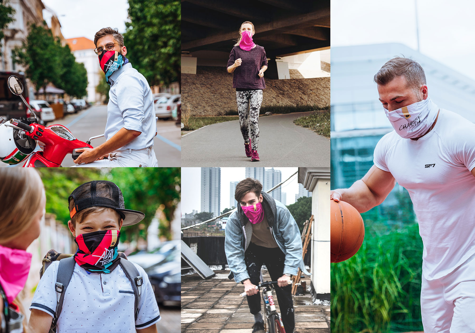 Various people wearing the r-shield whilst on a motorbike, playing basketball, cycling and running.