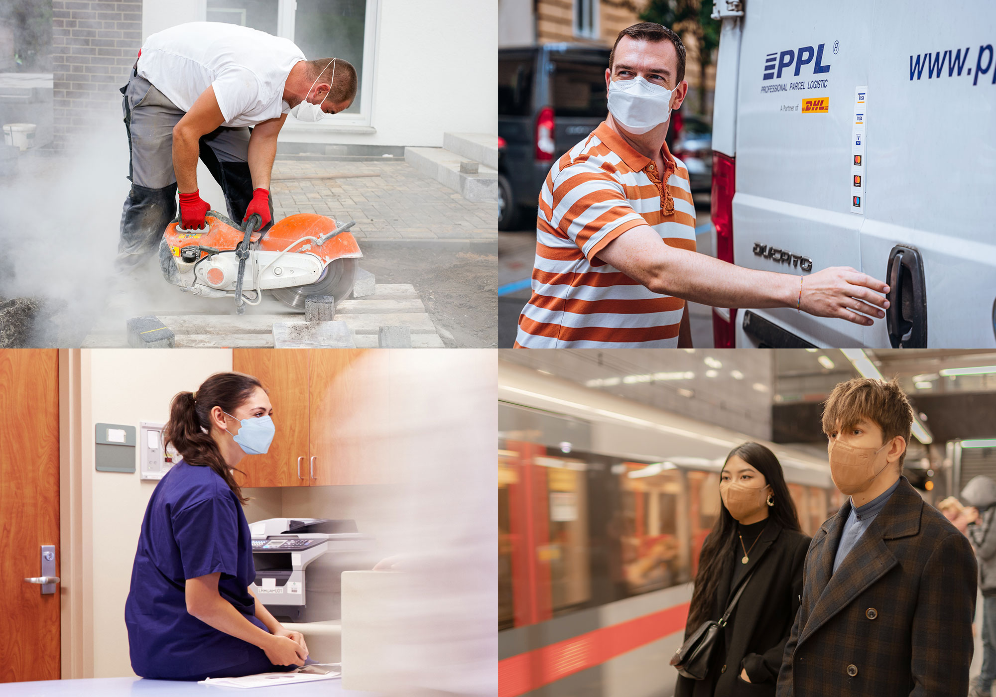 tradesman, nurses, a delivery driver and people on a train wearing respilon ppe respirators