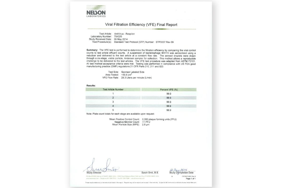 r-shield virus filtration efficiency test certificate