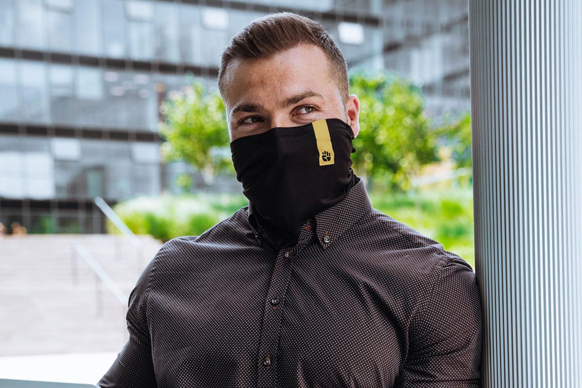 Man wearing black respilon r-shield
