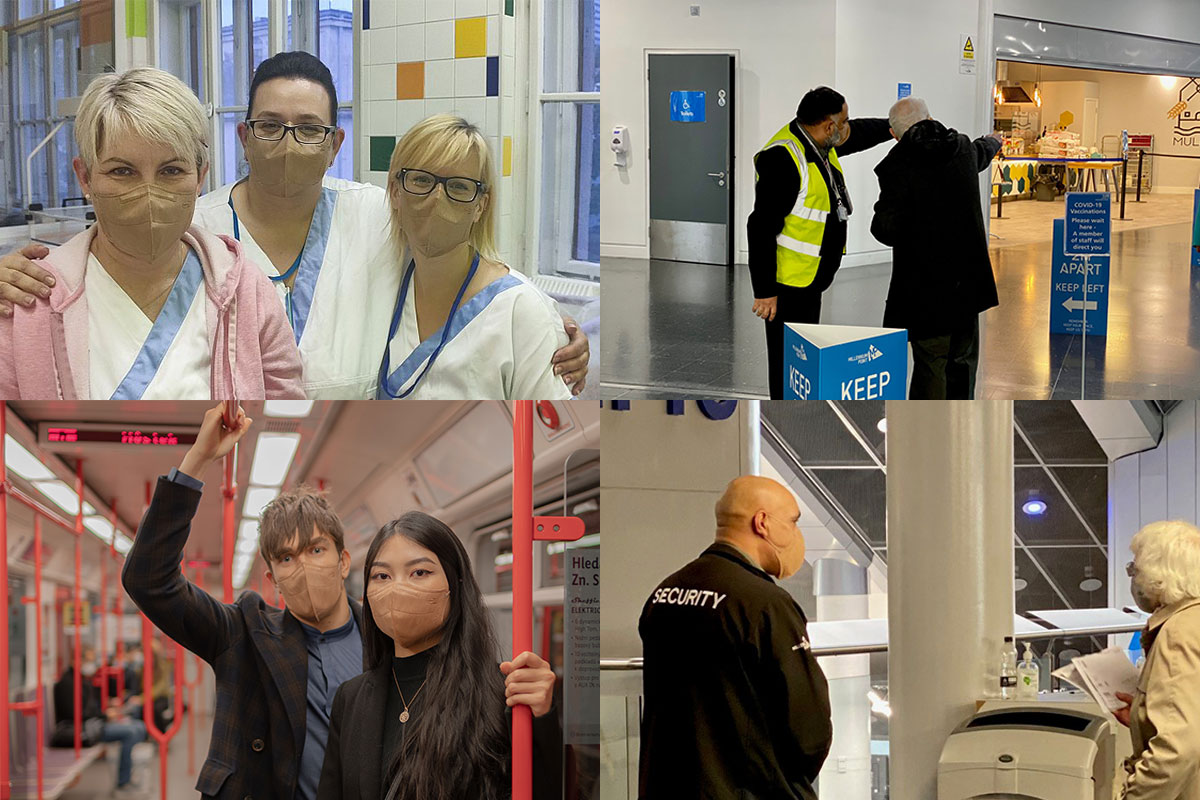 Nurses and security staff wearing the respipro vk