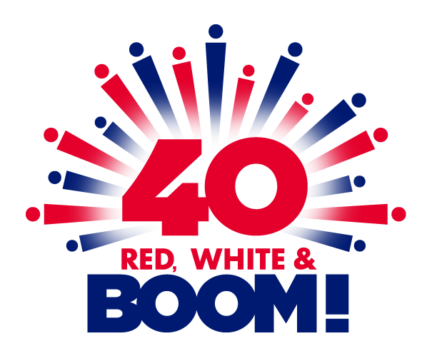 Red, White and BOOM! white and red colored logo