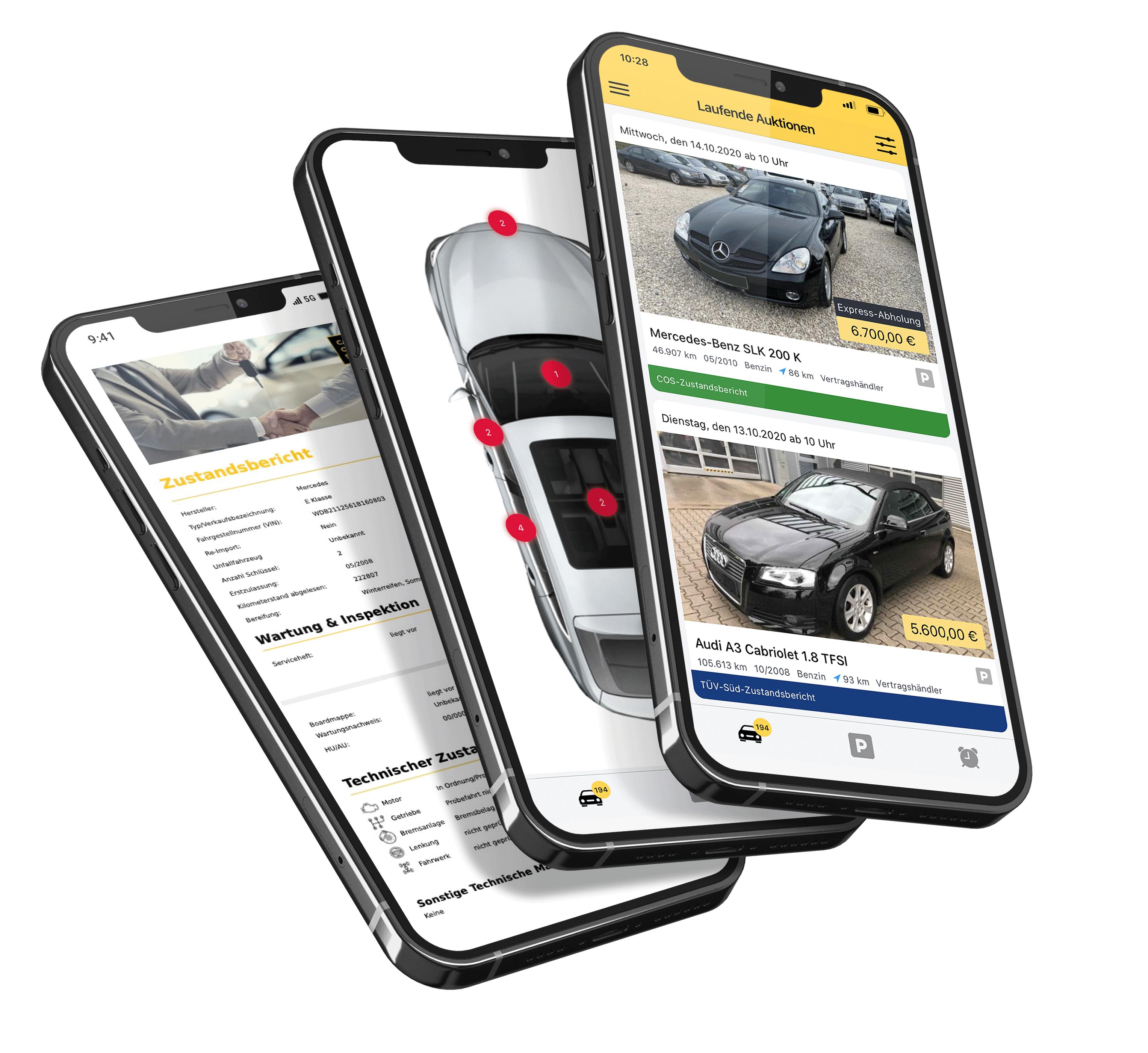 caronsale verschiedene mobile app ansichten