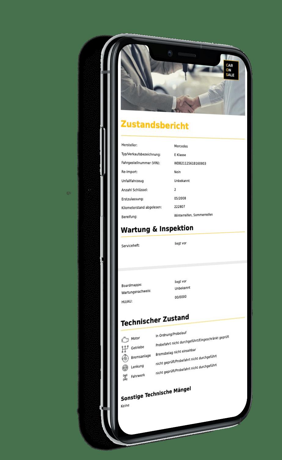 caronsale app iphone mobile ansicht