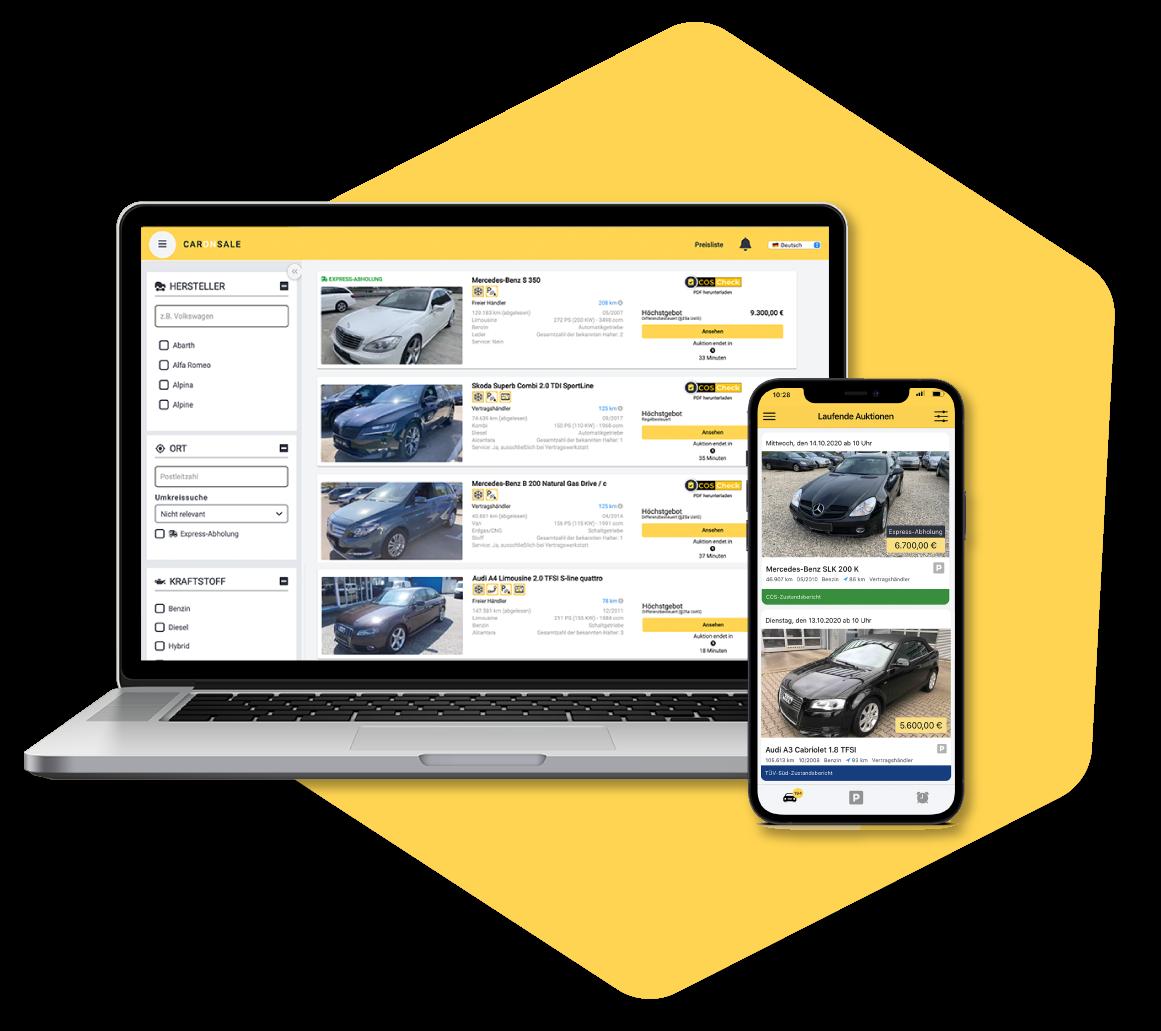 Screenshot van CarOnSale als verkoopplatform van dealervoertuigen voor