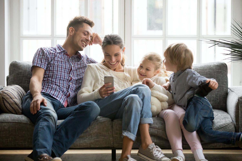 family using mobile apartment app