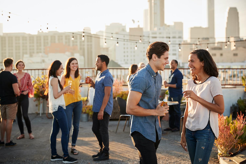 Apartment residents socializing