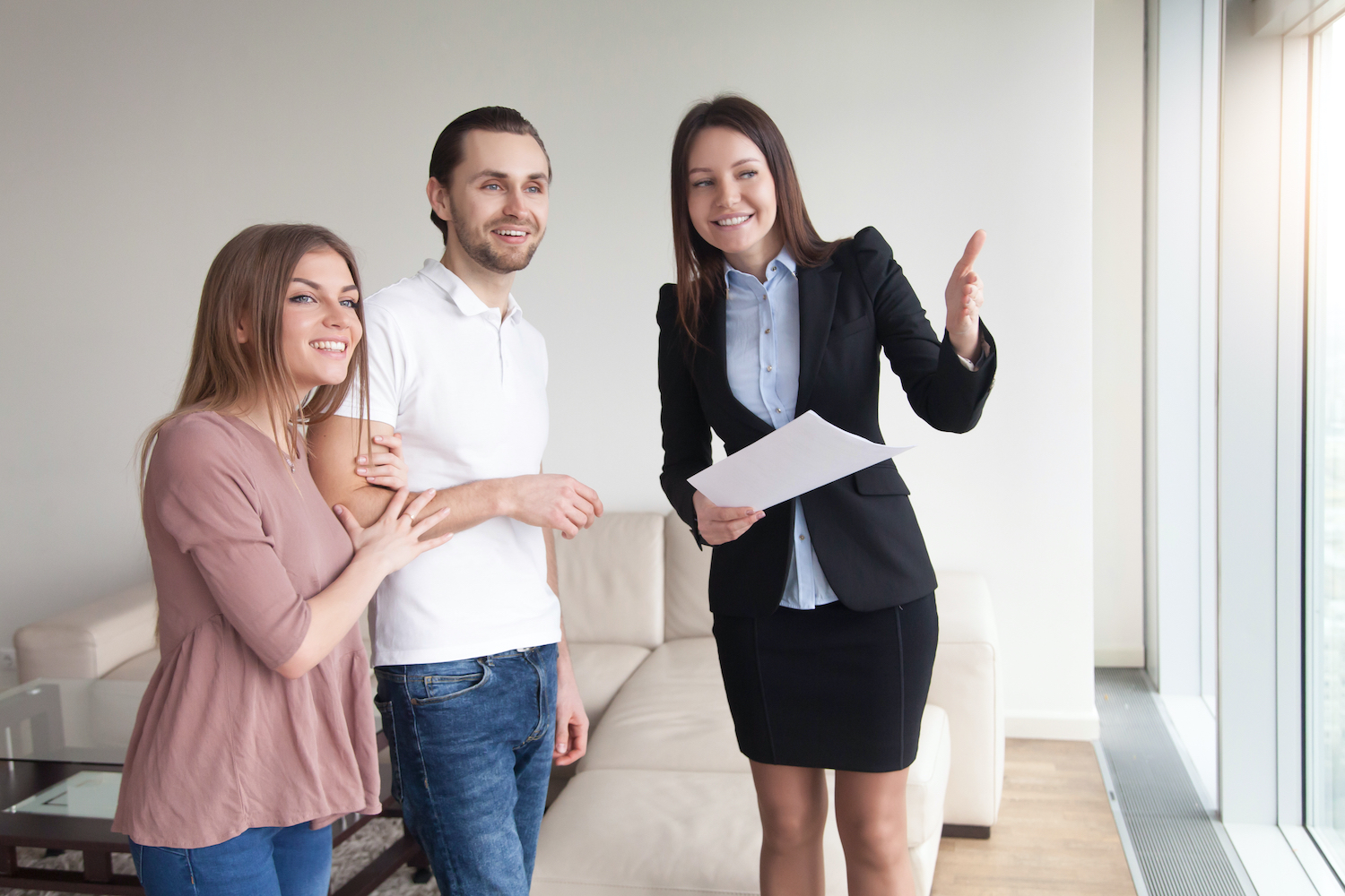 Property manager showing resident an apartment