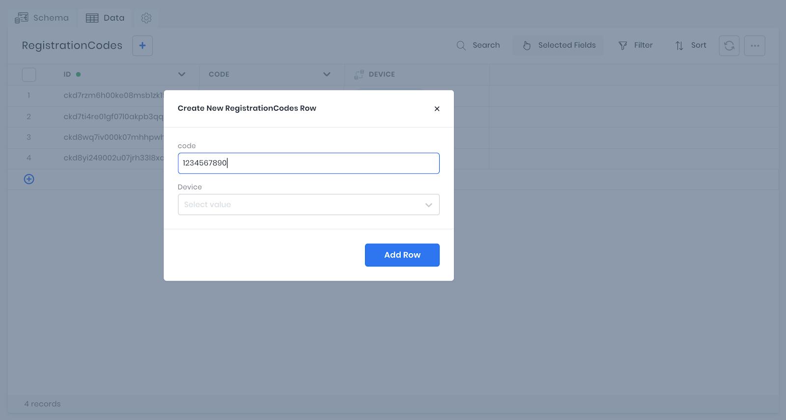 Create a registration code in 8base workspace