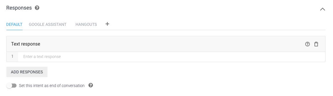 Adding responses with Dialogflow