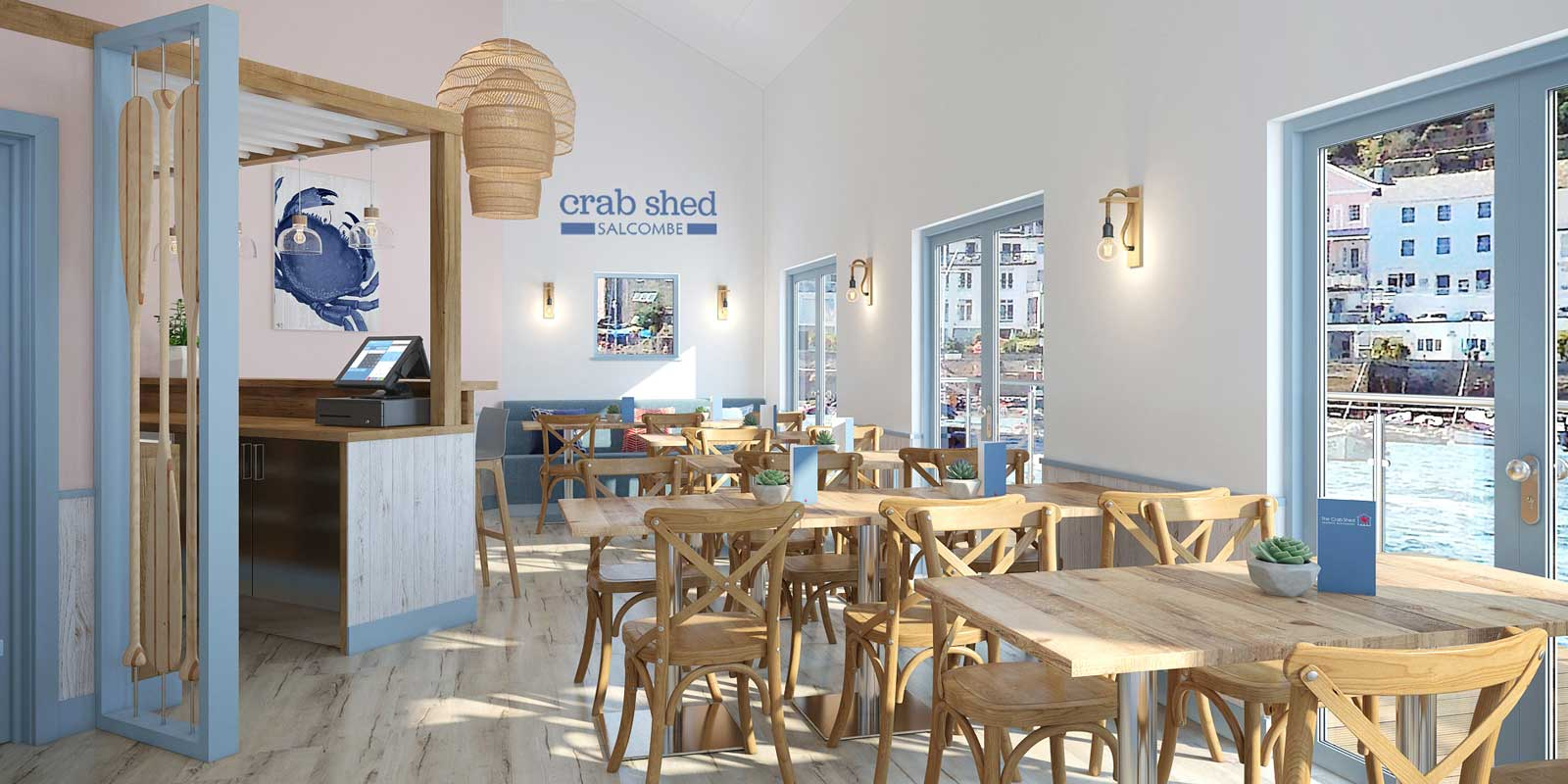 Visualisation of the refurbished Crab Shed Salcombe seafood restaurant