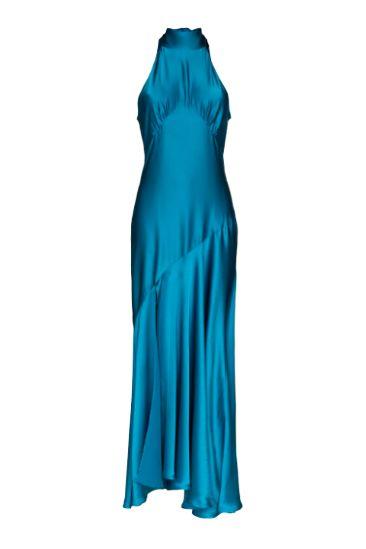 BLUE SILK MAXI DRESS