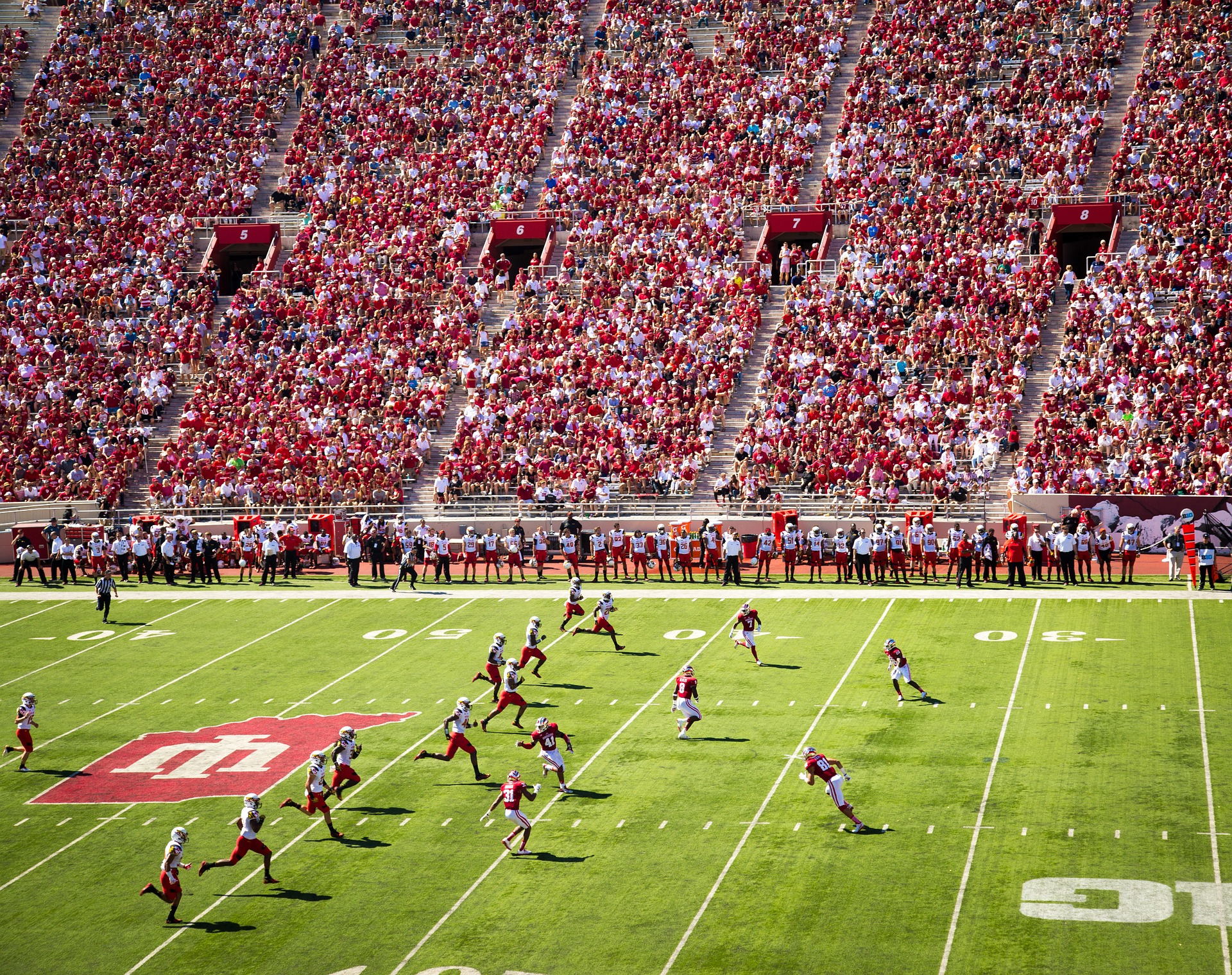 Indiana University Bloomington football team on field during game