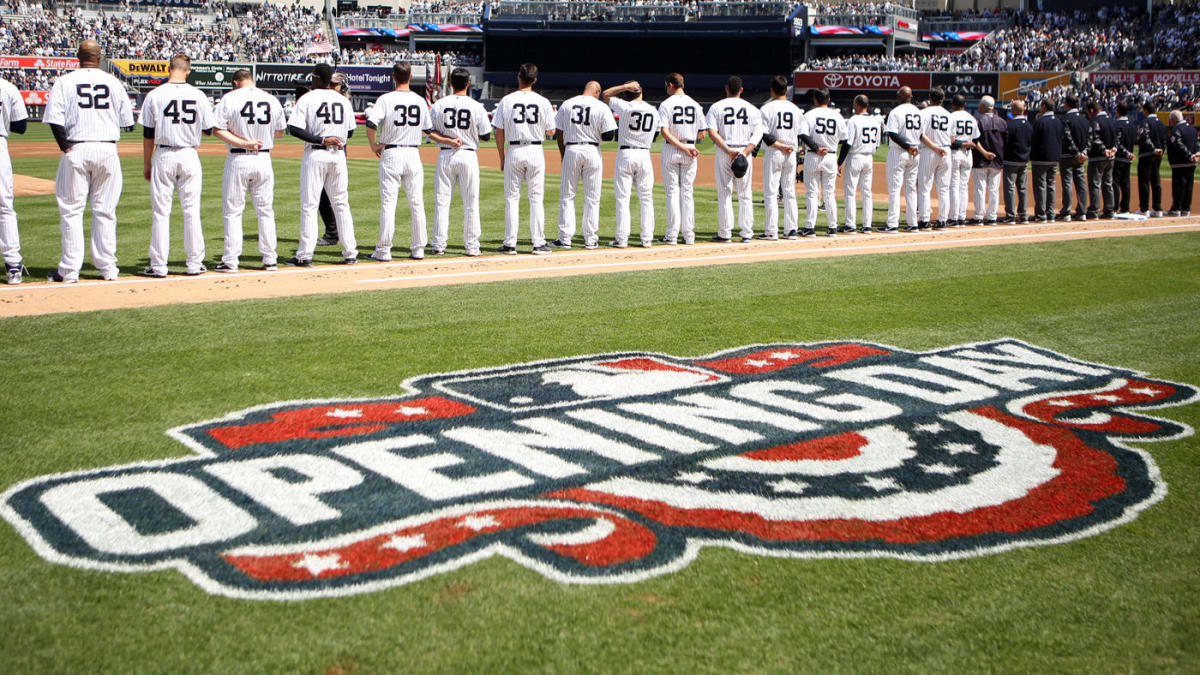 "New York Yankees lined up, words ""opening day"" pictured on MLB field"