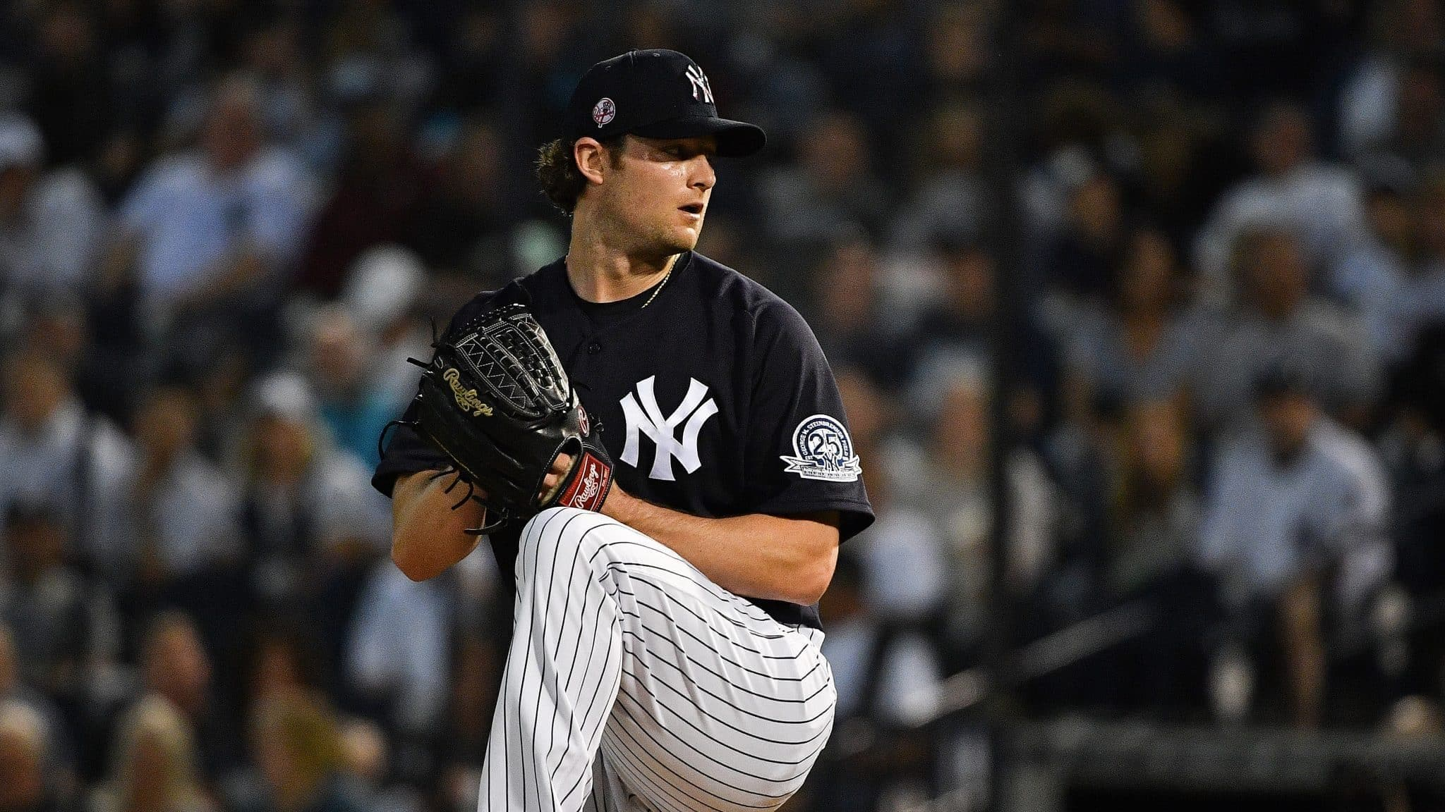 New York Yankees, Cy Young pitcher, Gerrit Cole on the mound ready to pitch