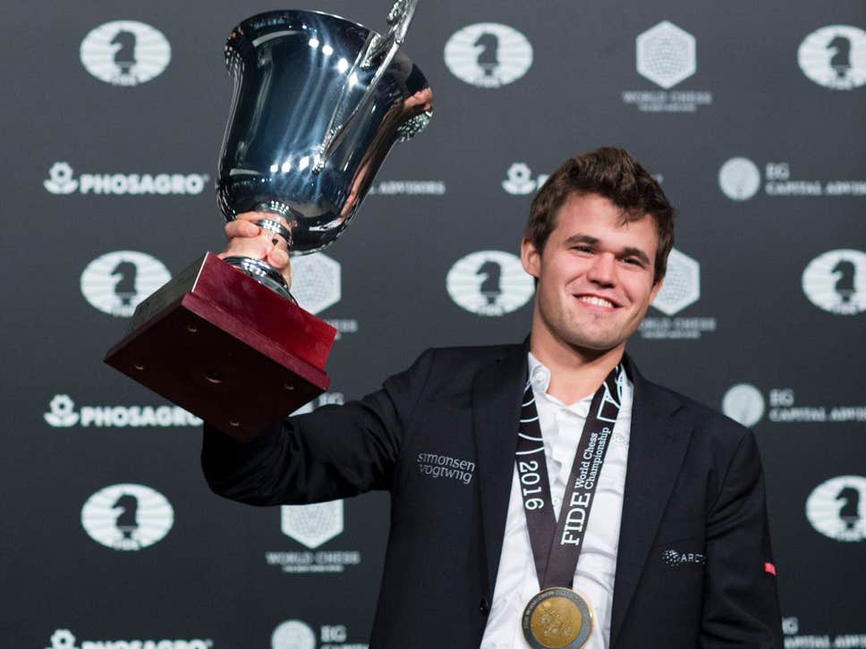 Magnus winning the 2016 World Chess Championship in New York.