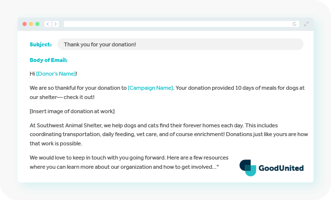 This image shows one method to thank Facebook donors.