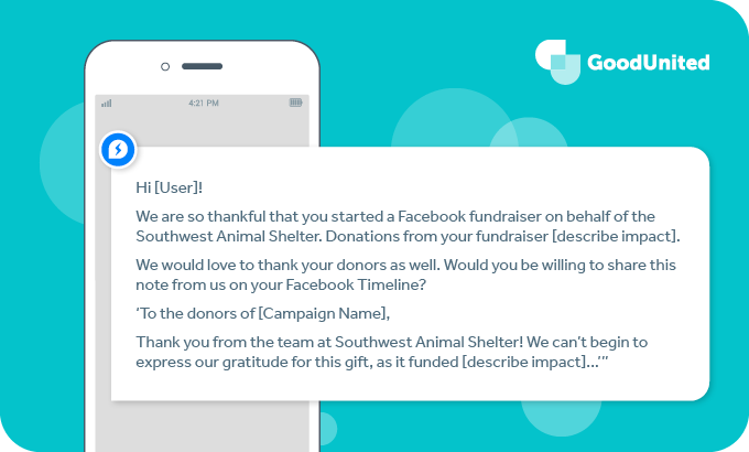Use this template to ask a Facebook fundraiser to post a thank you on your behalf.