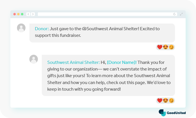 Comment back to tags to thank donors on Facebook.