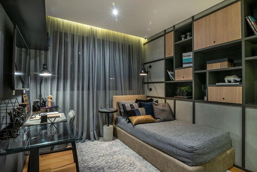 Quarto do apartamento decorado de 173m² do One Park Perdizes, um empreendimento da Lavvi Incorporadora.