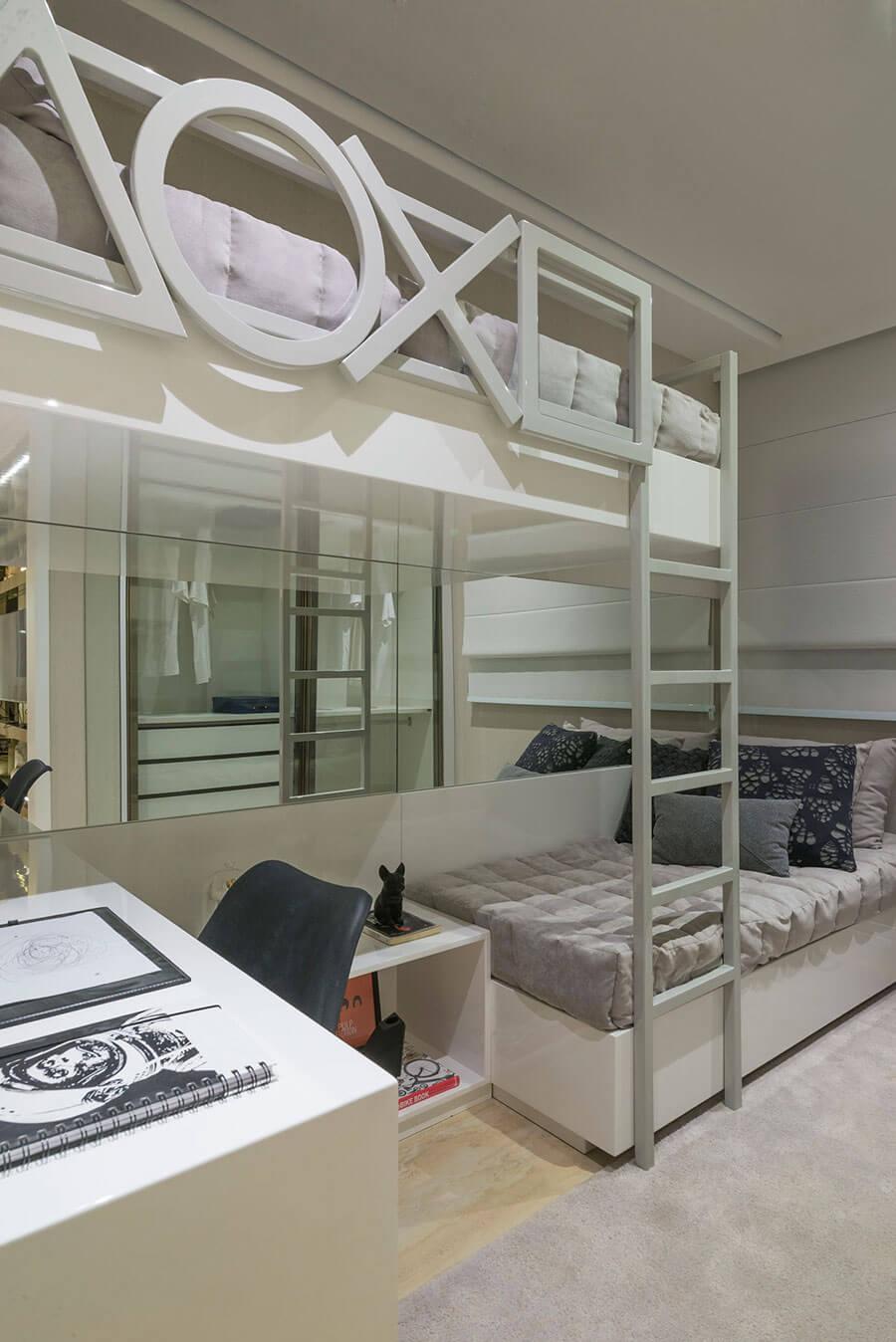 Projeto do quarto de solteiro no apartamento decorado de 105m² do Wonder by Praças da Cidade, um empreendimento da Lavvi Incorporadora.