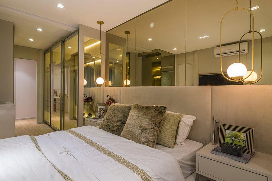 Suíte do apartamento decorado de 121m² do Wonder by Praças da Cidade, um empreendimento da Lavvi Incorporadora.