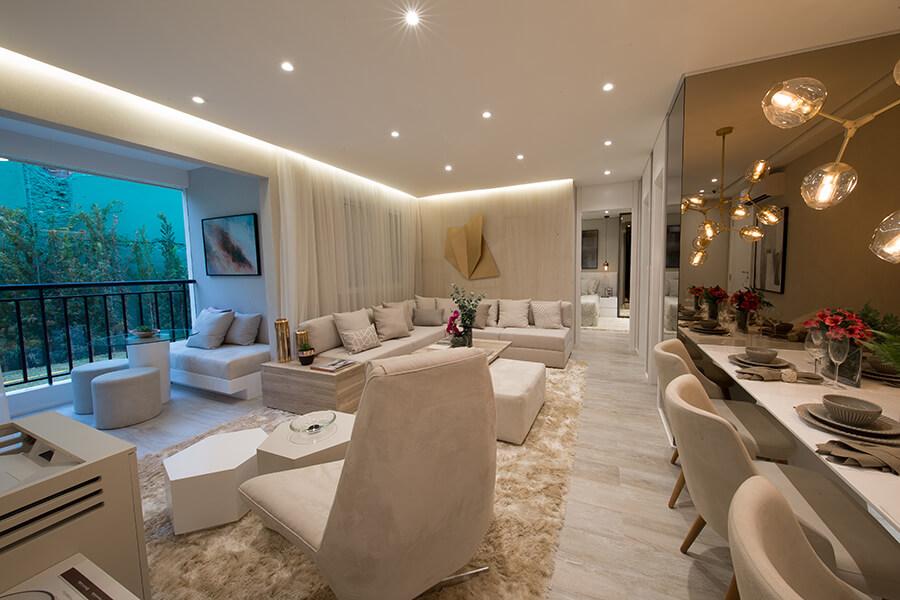 Sala de estar do apartamento decorado de 68m² do Praça da Cidade - Mooca, um empreendimento da Lavvi Incorporadora.