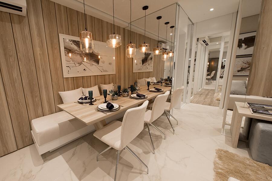 Sala de jantar do apartamento decorado de 68m² do Praça da Cidade - Mooca, um empreendimento da Lavvi Incorporadora.