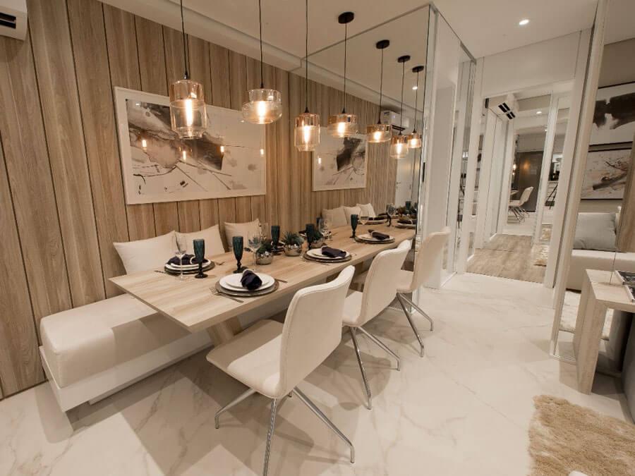Sala de jantar do apartamento decorado do Praça da Cidade - Mocca, um projeto da Lavvi Incorporadora.