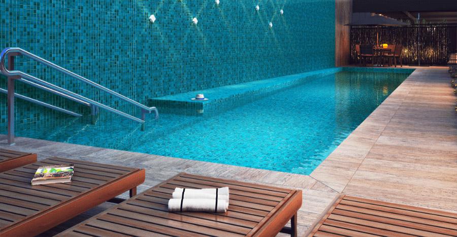 Perspectiva ilustrada da piscina do empreendimento Movva Luz.