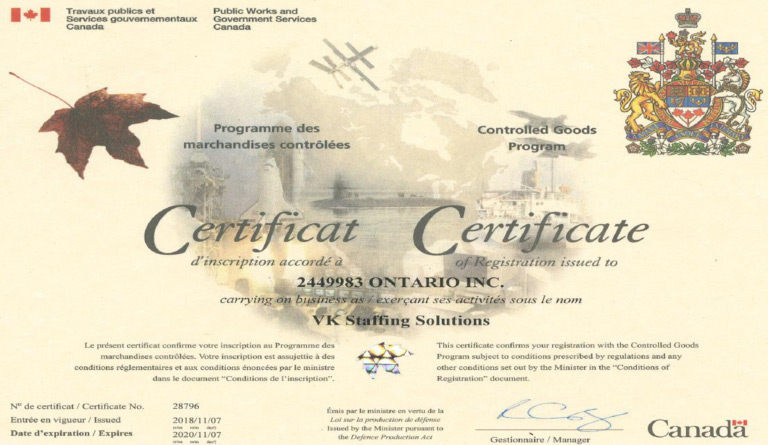 Certificate for Controlled Goods with the Canadian federal government