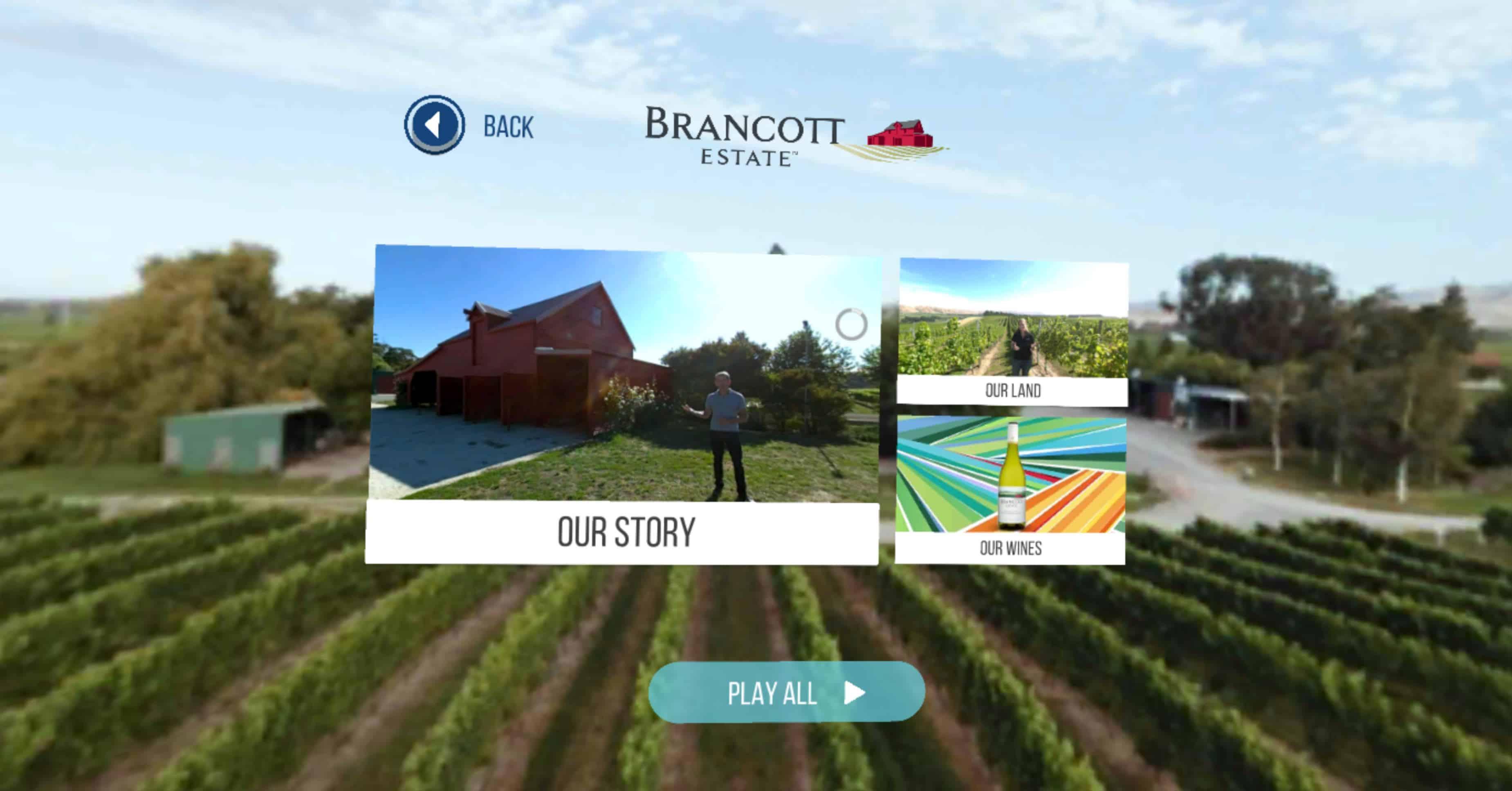 Brancott Wines VR Menu