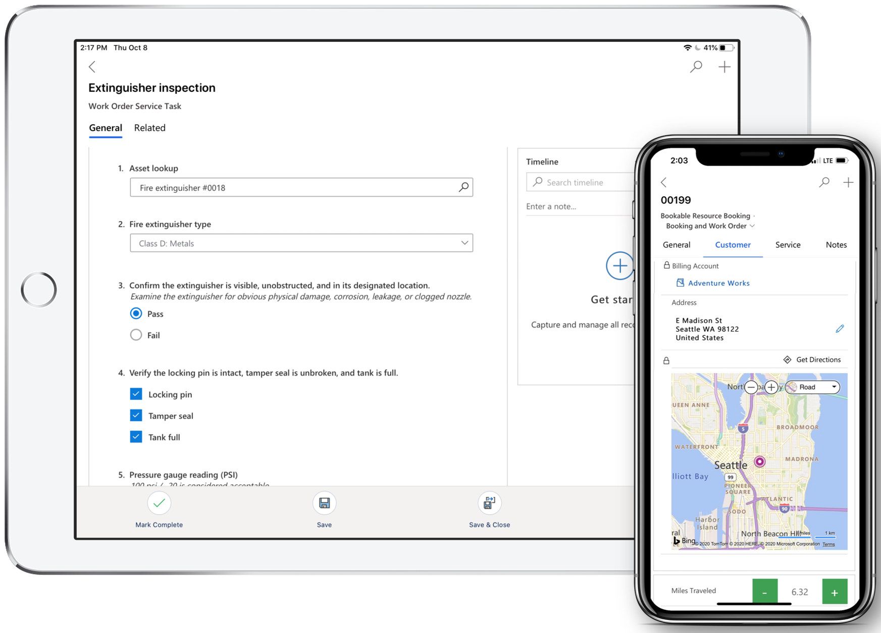 Simulated image of the Field Service (Dynamics 365) mobile app on a phone and a tablet.
