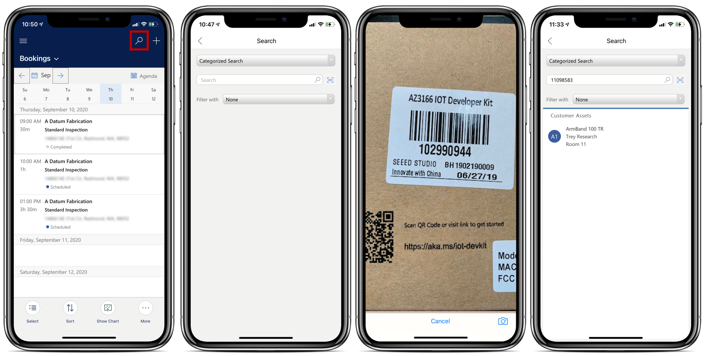 Simulated image showing four mobile devices in different stages of the barcode scan process.