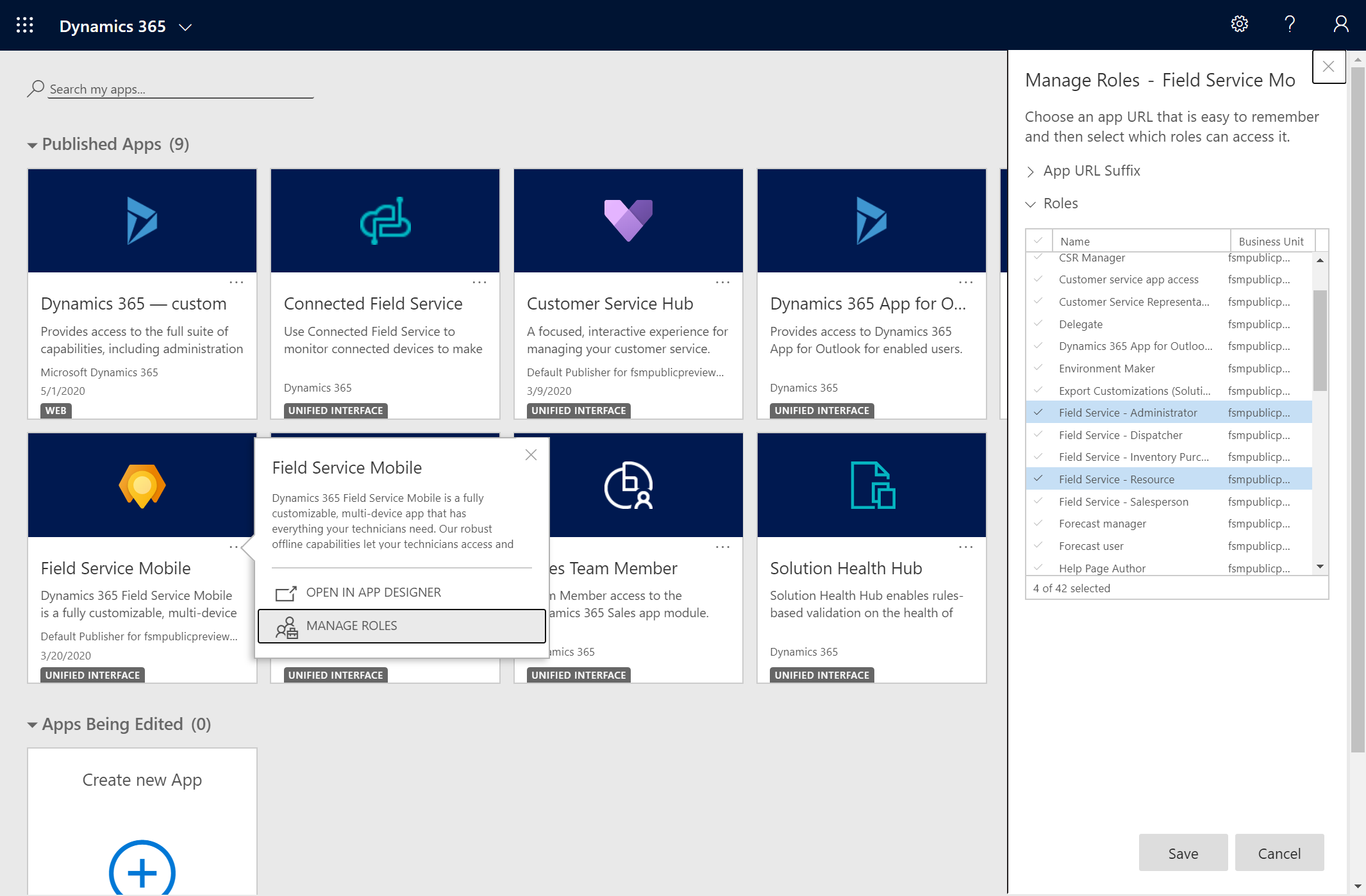 Screenshot of the Dynamics 365 list of apps, showing the Field Service Mobile solution in the list.