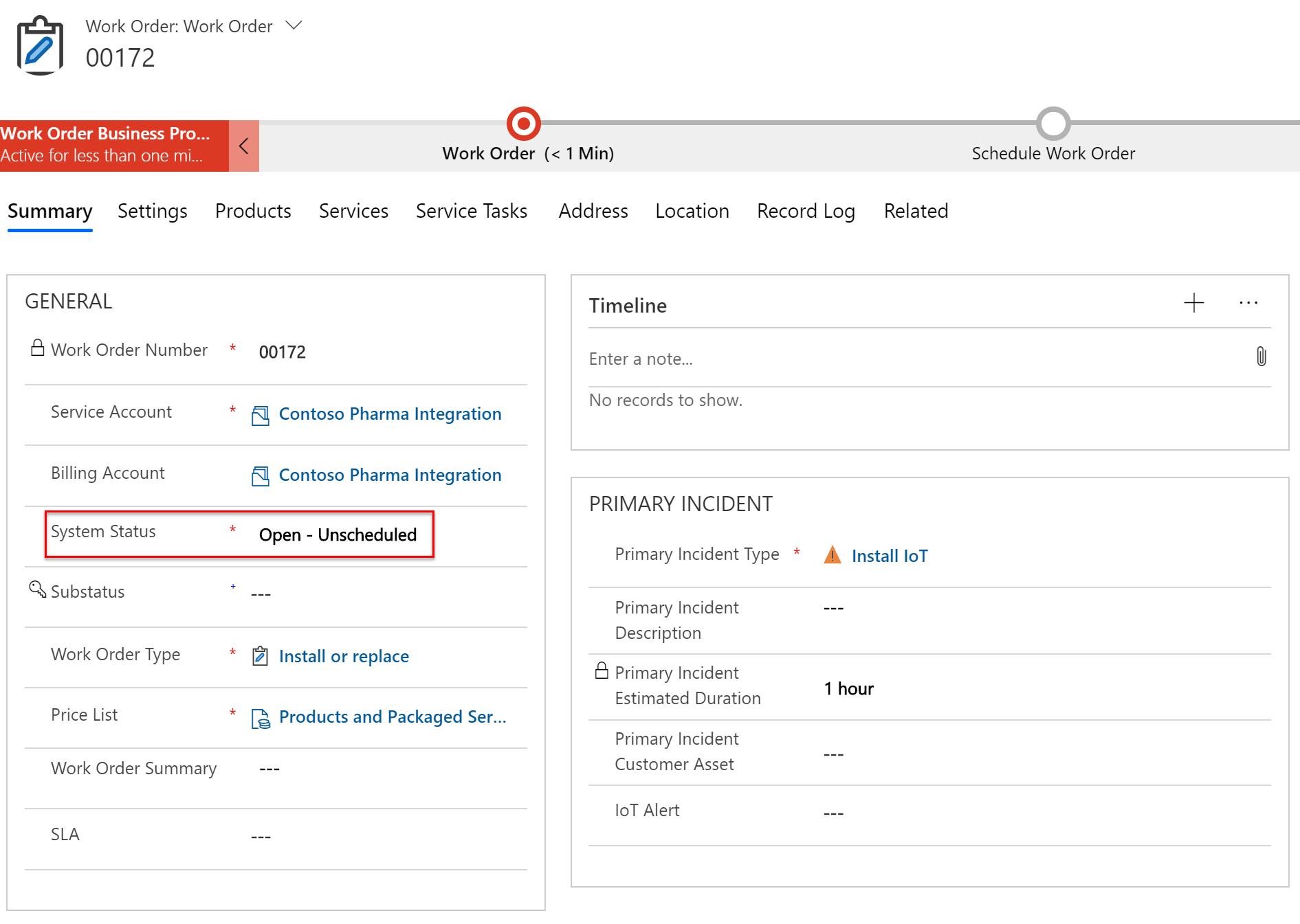 Screenshot of new work order