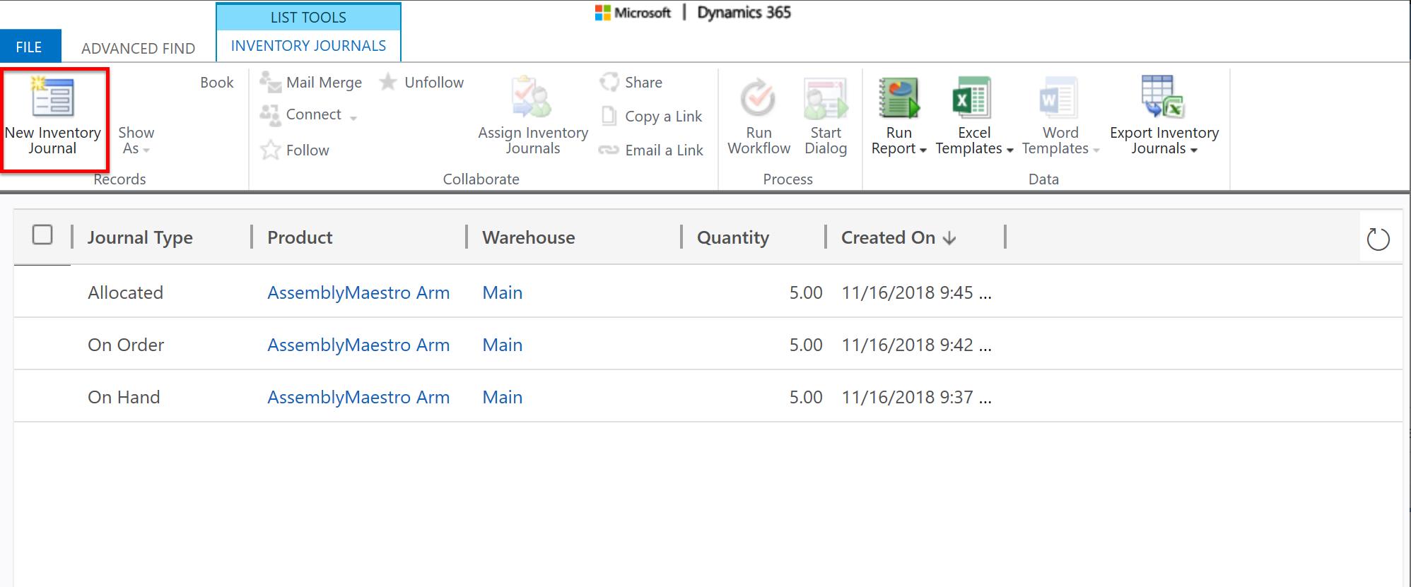 Screenshot of inventory journals
