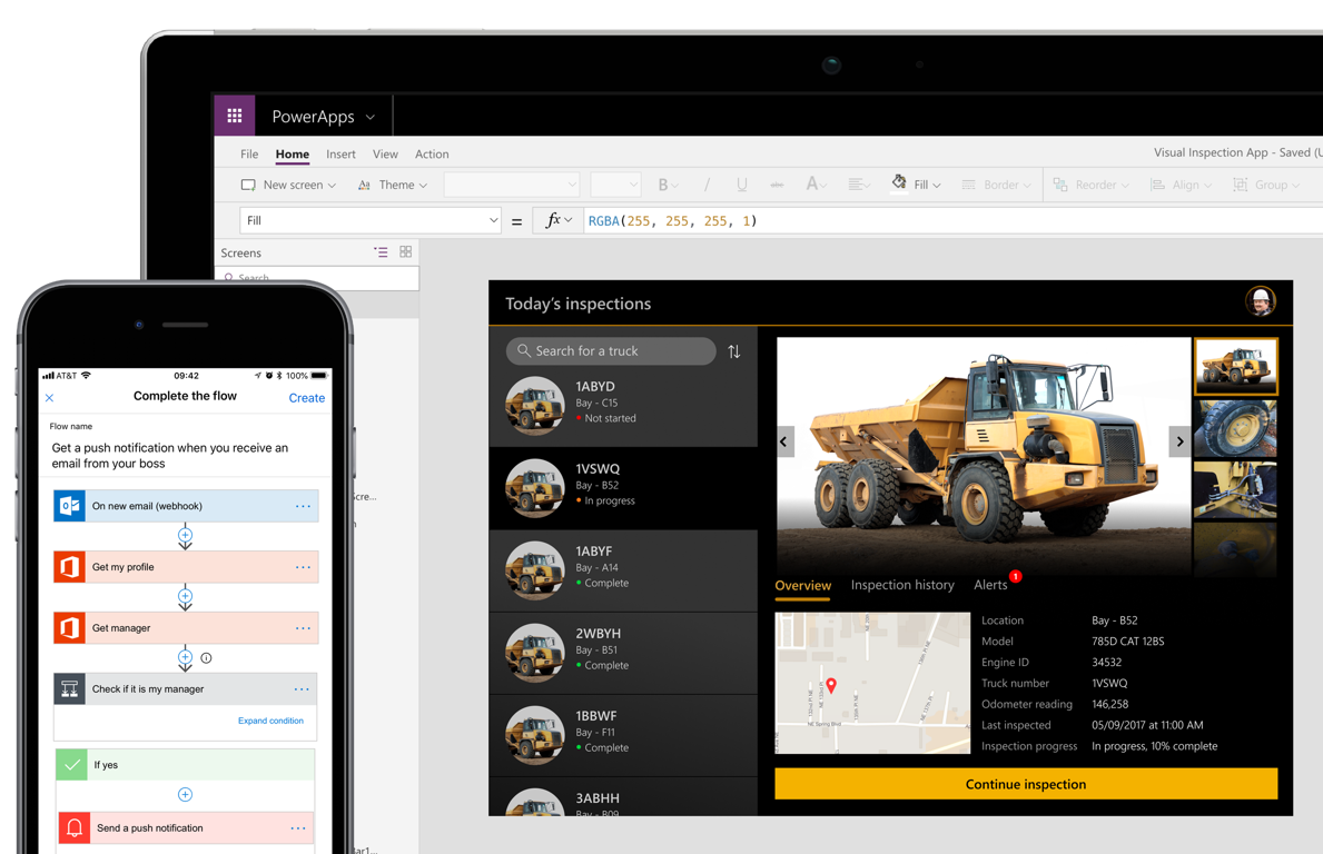 Two device screens showing different views within Power Apps