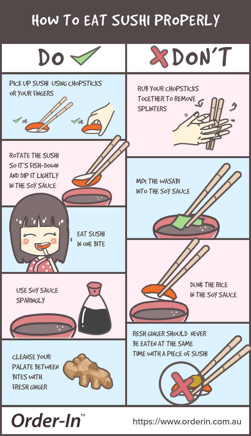 how to eat sushi properly infographic