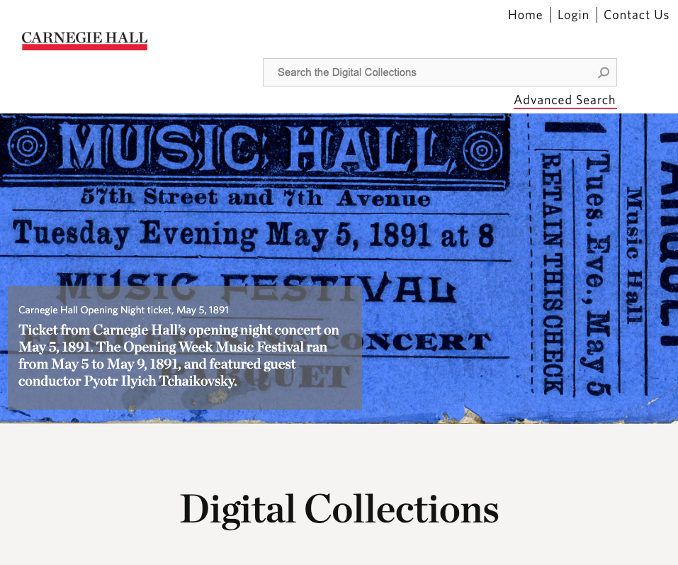 Carnegie Hall Archive screenshot