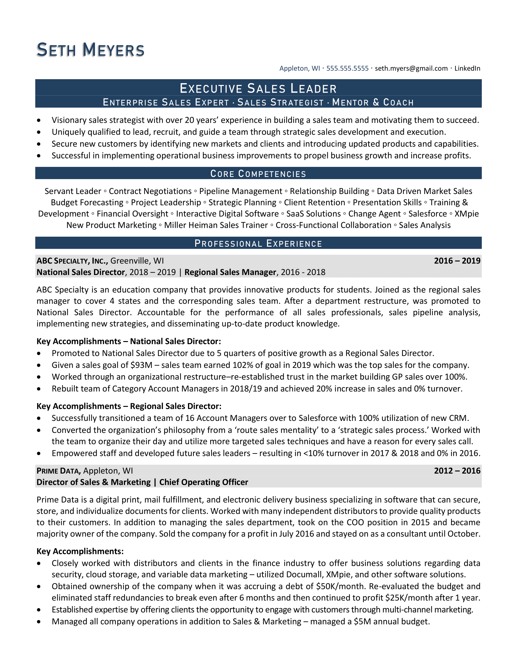 Enterprise Sales Resume, Page 1