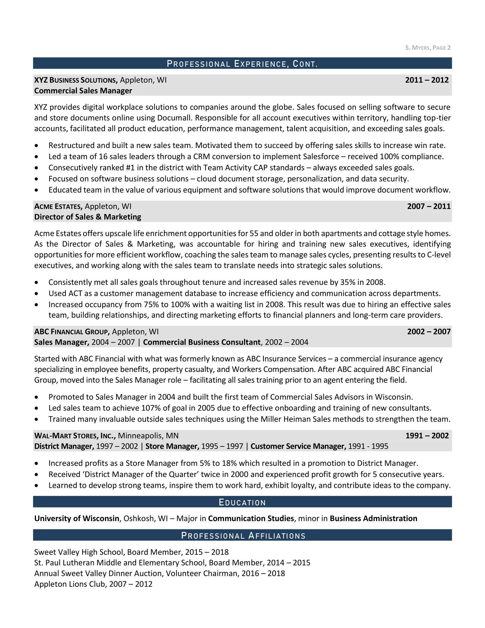 Enterprise Sales Resume, Page 2