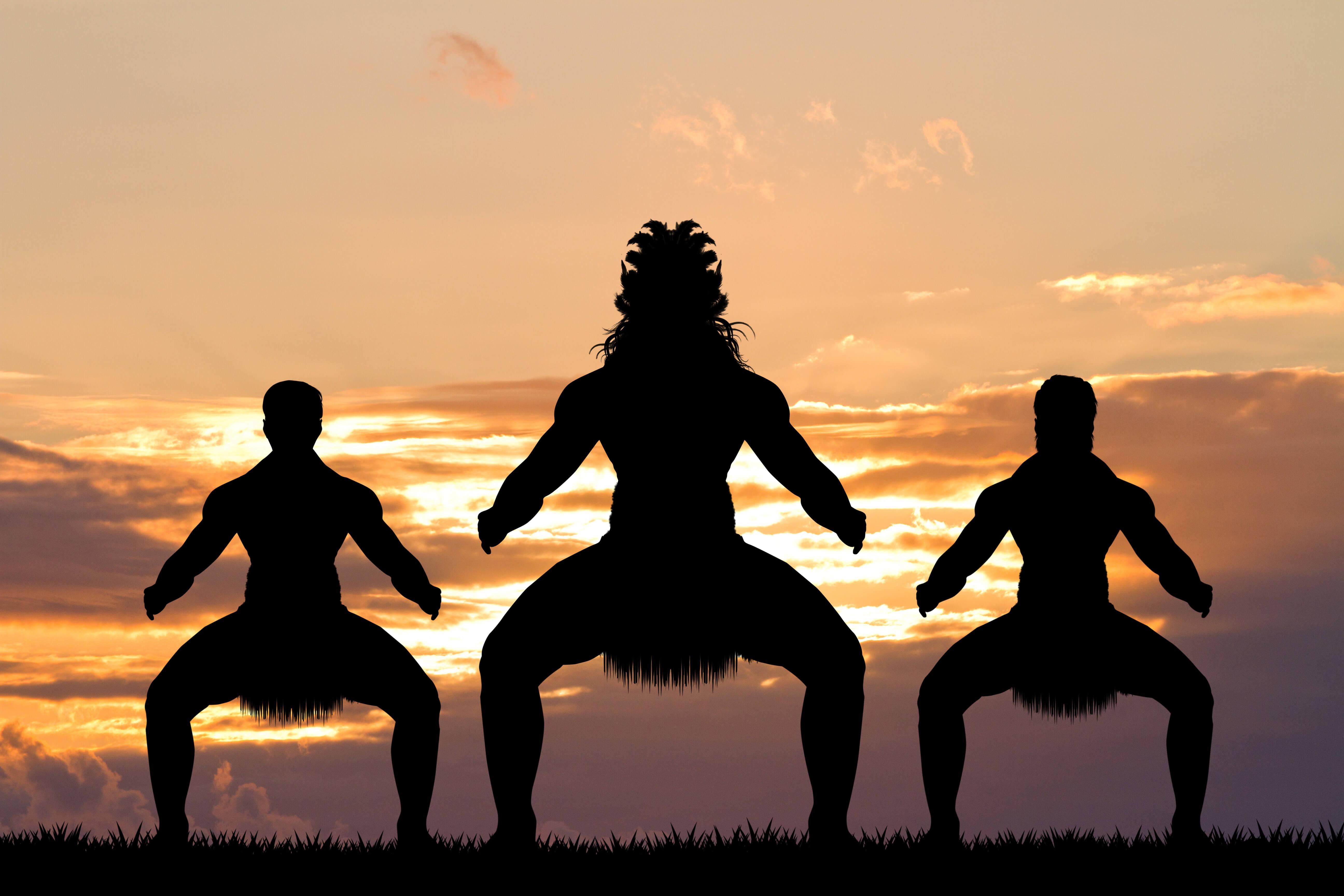 Maori Dance at Sunset in New Zealand